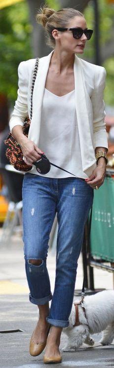 Olivia Palermo White + Jean
