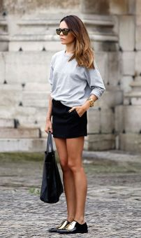 oxford shoes + skirt