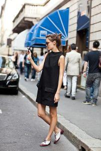 little black dress + oxford shoes