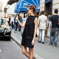 little black dress + oxford shoes