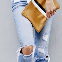 clutch & ripped jean