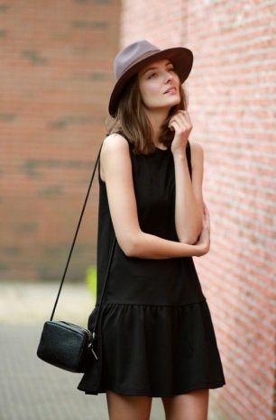 little black dress & hat