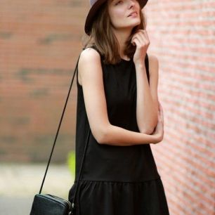 little black dress & hat