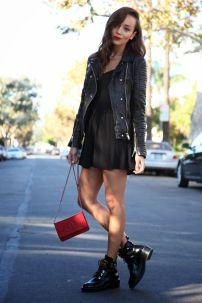 Little black dress & leather