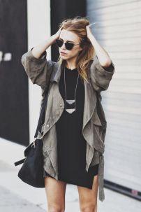little black dress & militar jacket