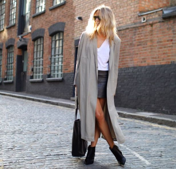 Oversized Coat & Leather Skirt