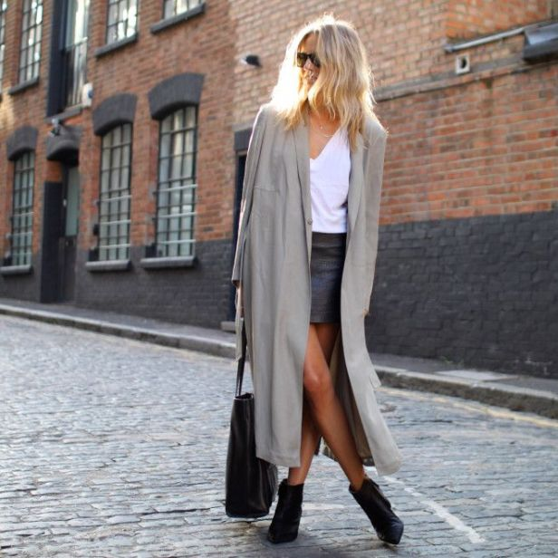 Oversized Coat & Leather Skirt