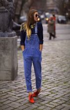 overall and oxford shoes