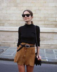 Suede skirt & black