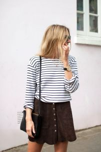 Suede Skirt & stripes