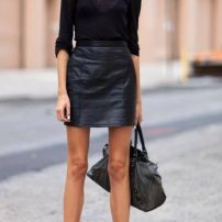 leather black skirt