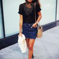 dark jean skirt