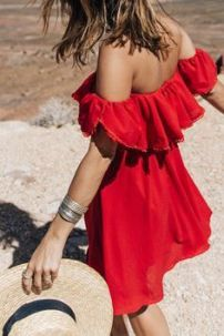 shoulder red dress