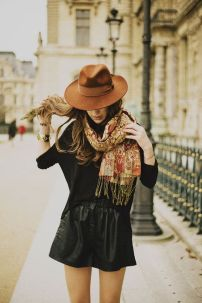 leather and hat