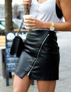 leather skirt con cierre