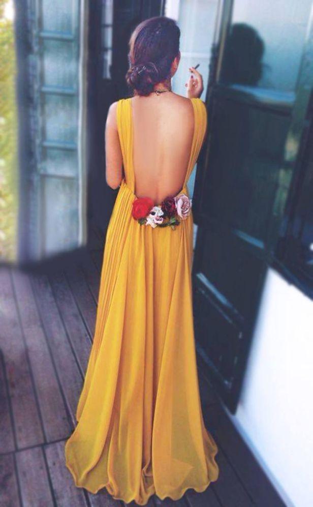 yellow back dress