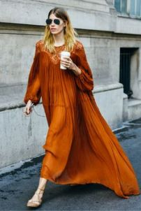 orange folk dress