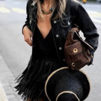total look black fringe