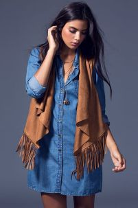 suede vest and jean