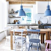 kitchen white and blue with wood
